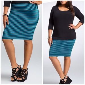 EUC Torrid Striped Foldover Pencil Midi Skirt 2X